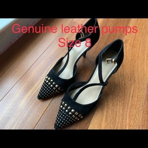 Brand new BCBG studded heel pumps black suede
